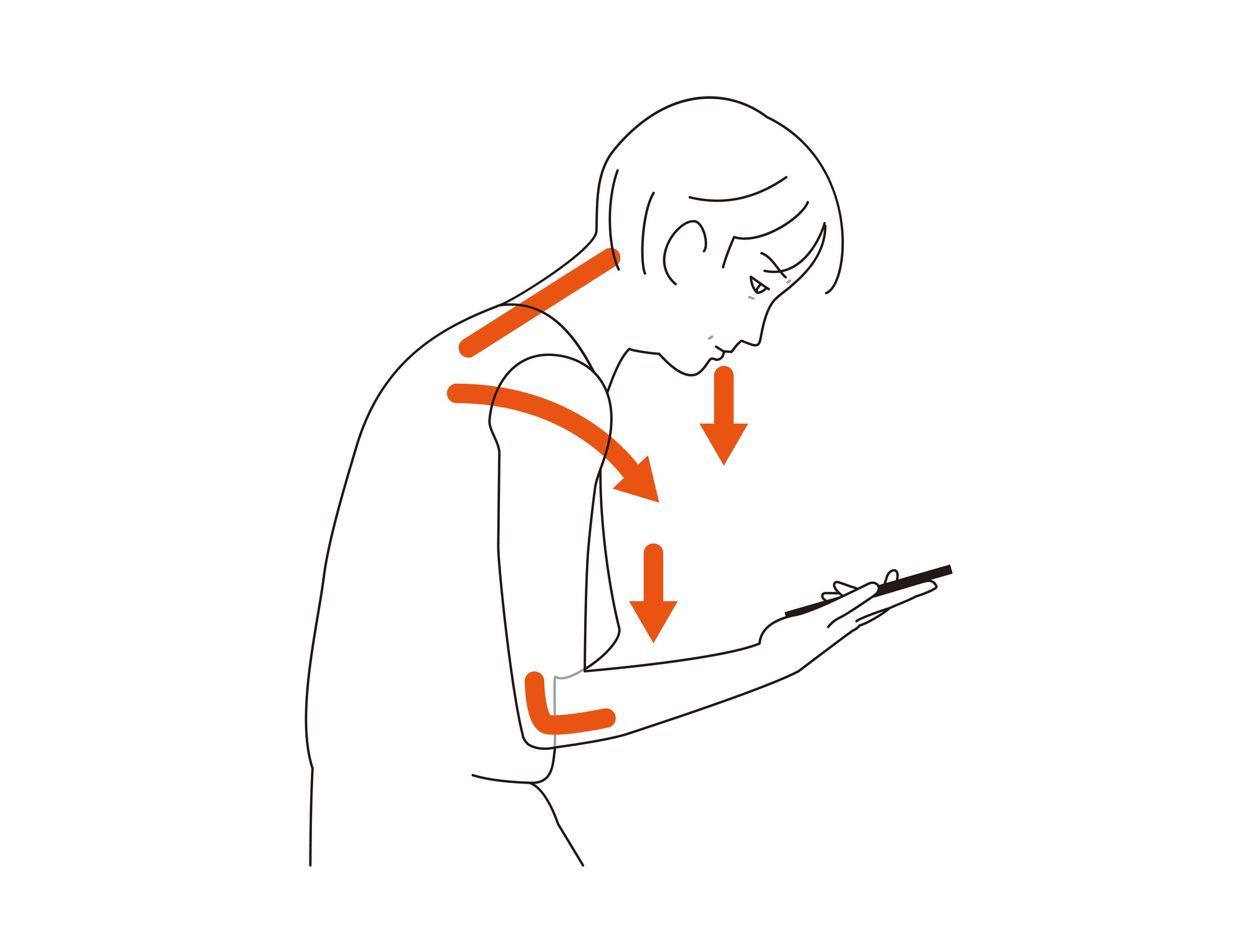 Rounded shoulder posture from looking at a screen